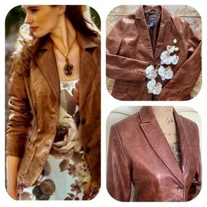 GAP Brown Leather Vintage Blazer / Jacket